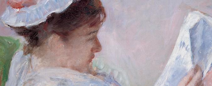 Portrait d'une femme lisant de profil par Mary Cassatt