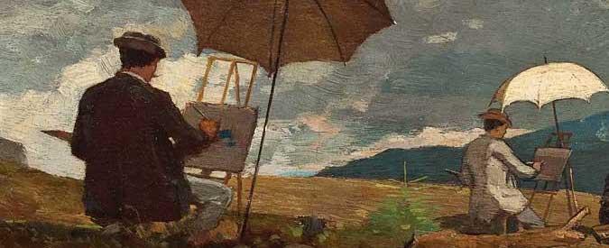 Peinture de Homer représentant des artistes en train de peindre dans les montagnes