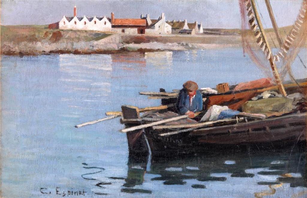 Caroline Espinet, Barques devant l'usine, Huile sur toile, Coll. part.