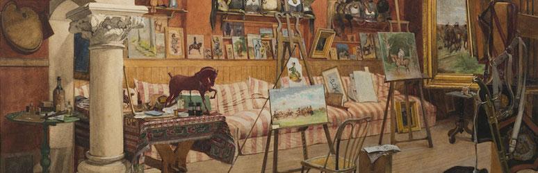 L'atelier d'été (d'Ernest Meissonier). Aquarelle de Gustave Méquillet © R-P RIBIERE