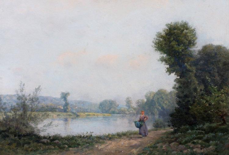 Jeune femme au bord d'une rivière; Manient