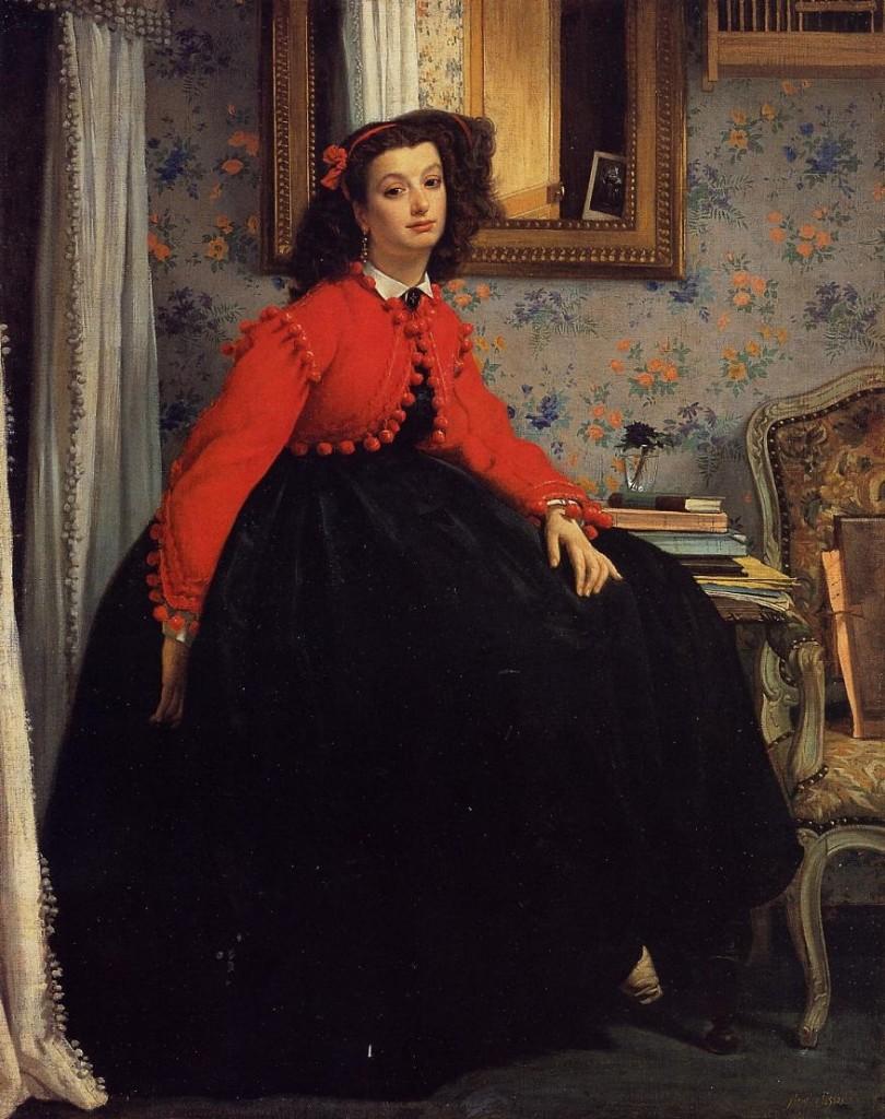 James Tissot, Portrait de Mlle L.L. (Jeune femme en veste rouge)