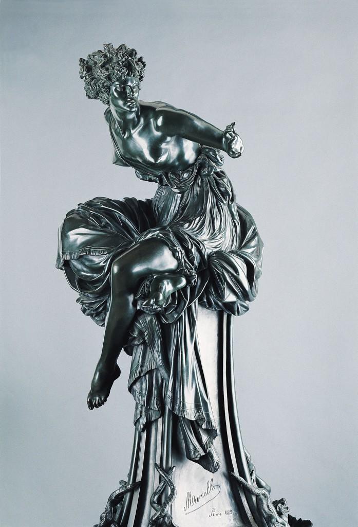Marcello, La Pythie, modèle créé à Rome en 1869, exemplaire à demi-grandeur fondu après 1879. Bronze (Thiébaut frères. Fribourg, musée d'art et d'histoire, exemplaire réalisé selon les dernières volontés de Marcello