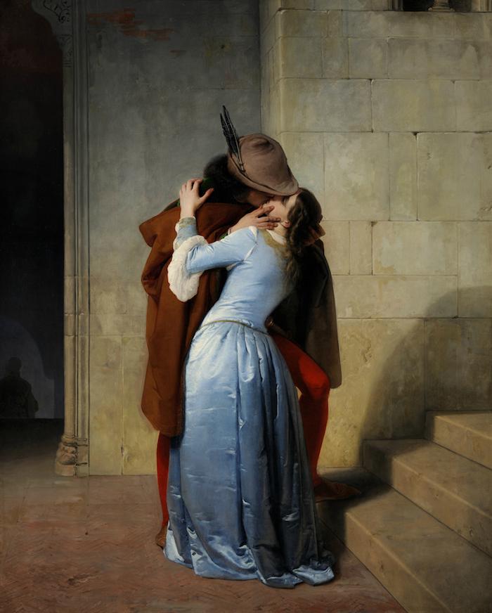 Il Bacio. Episodio della giovinezza. Costumi del secolo XIV, 1859, Milano, Pinacoteca di Brera