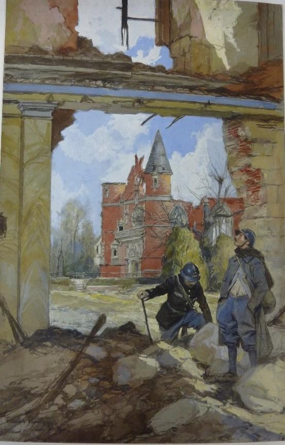 CHAPELLE DU CHÂTEAU DE BUS À TILLOLOY,NOVEMBRE 1916, aquarelle, gouache et crayon noir sur carton, H.48,2 ; L. 31,2cm, Paris, Musée de l'Armée.