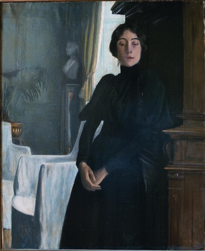 Portrait par Rusiñol de mlle Nantas en noir