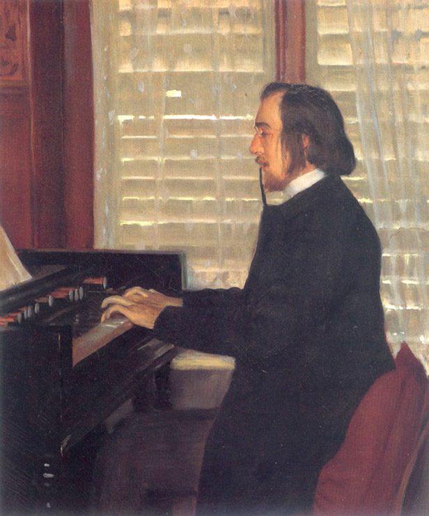 Portrait par Rusiñol d'Erik Satie jouant de profil à l'harmonium