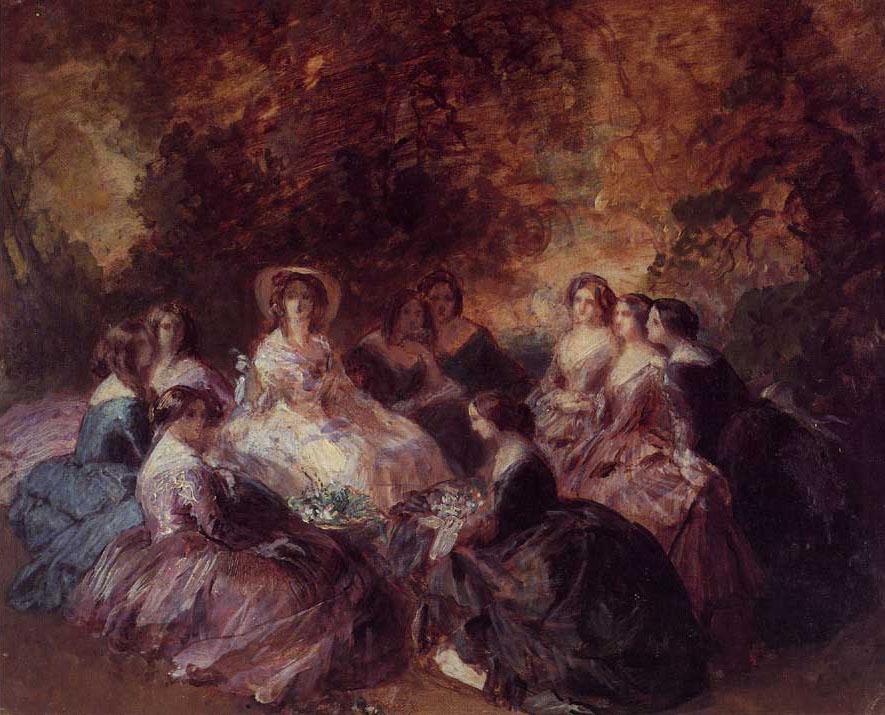 Winterhalter, Eugénie et dames d'honneur, esquisse