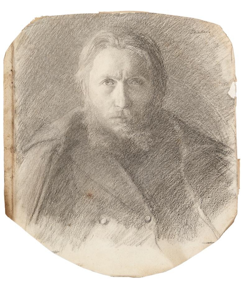 Léon Delachaux, autoportrait au manteau