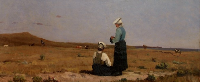 Peinture de femmes gardant leur troupeau par Caroline Escient