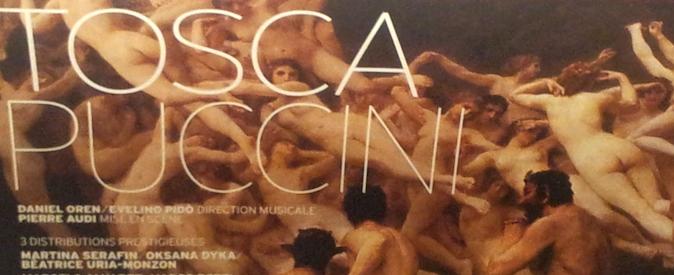 Affiche de Tosca avec une peinture de Bouguereau en arrière-plan