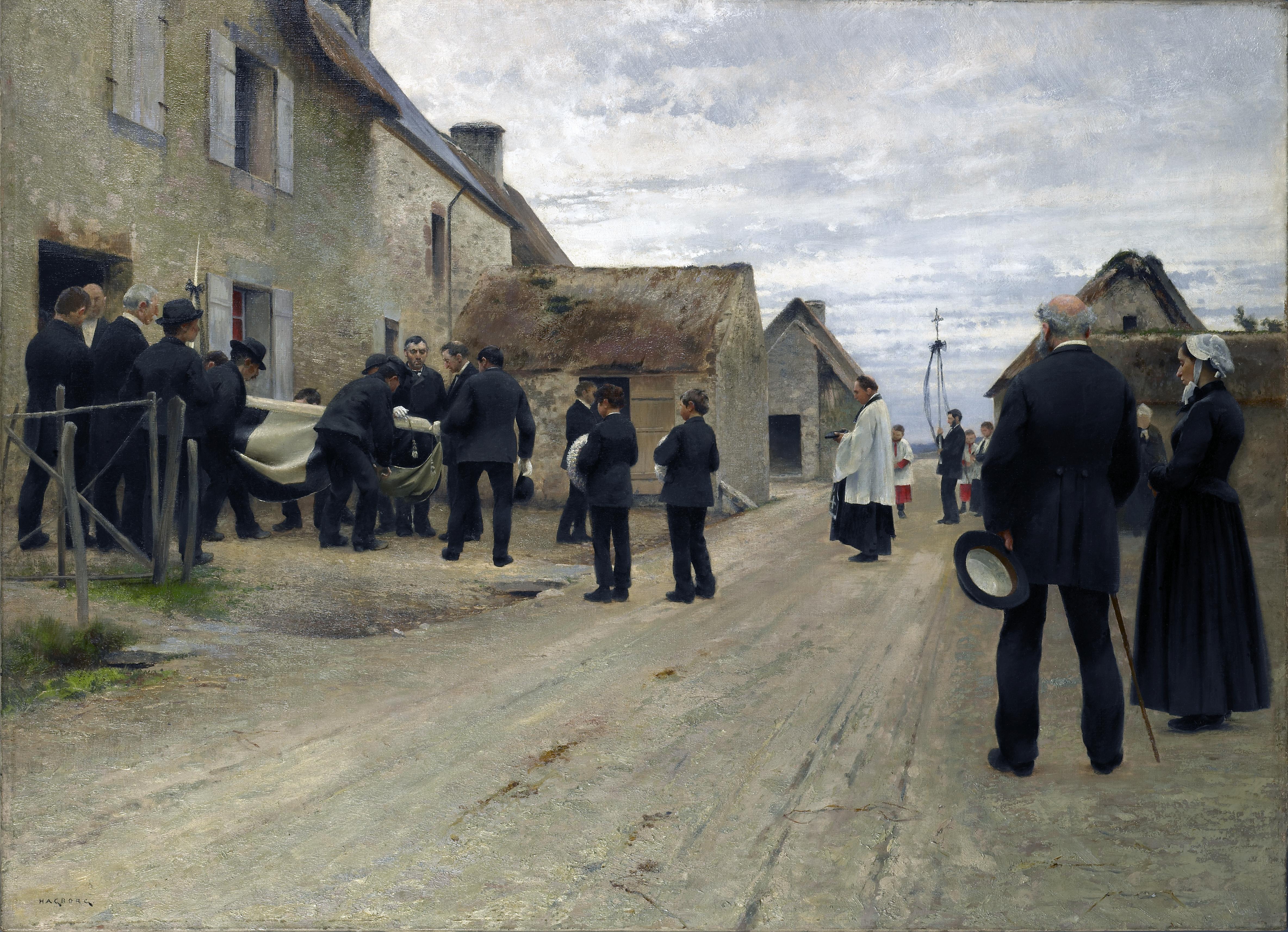 Enterrement d'un marin dans un village de la Manche, August Hagborg